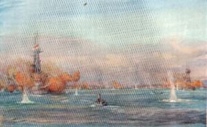 Bombarding Turkish Batteries at Chanak, March 18th, 1915  by W L Wyllie.