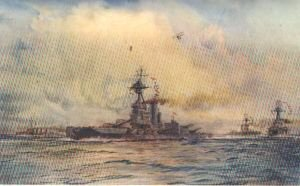 Benbow with Sister Battleships Deploying into Line by W L Wyllie.