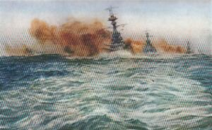 Battleships at Target Practice in the Atlantic by W L Wyllie.
