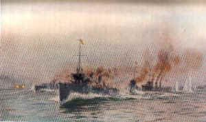 Destroyers Engaging the German Cruiser Mainz by W L Wyllie.