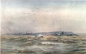 Glorious and Furious Riding out a Gale in the Forth by W L Wyllie.